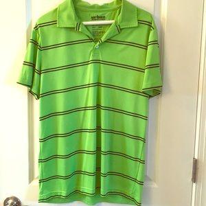 Urban Pipeline Lime Green Striped Golf Polo